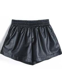 Black Elastic Waist PU Leather Shorts -SheIn(Sheinside)