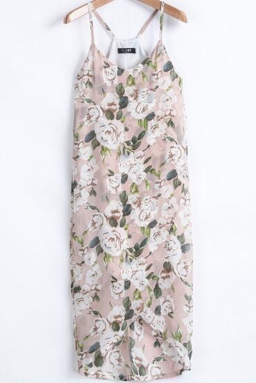 Apricot Spaghetti Strap Floral High Low Chiffon Dress