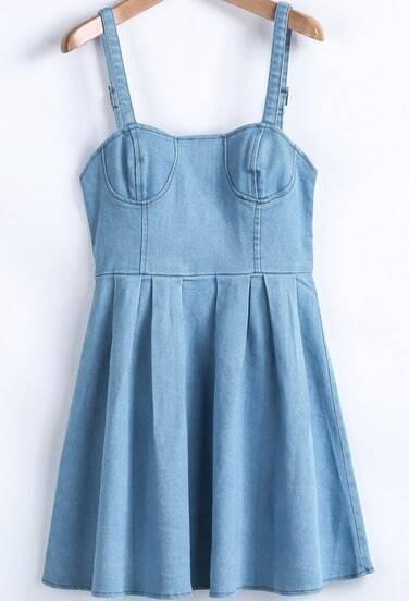 Blue Spaghetti Strap Pleated Denim Dress
