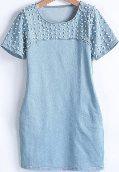 Blue Short Sleeve Bead Denim Dress