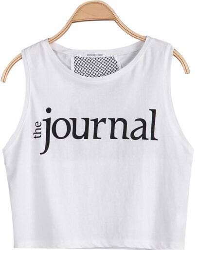 White Sleeveless journal Print Hollow Vest