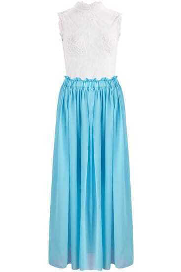 White Sleeveless Lace Top With Blue Pleated Skirt