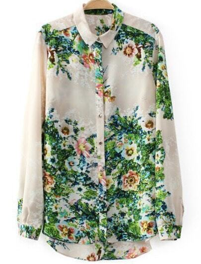 Green Long Sleeve Floral Chiffon Loose Blouse