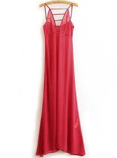 Red Spaghetti Strap Sheer Full Length Dress
