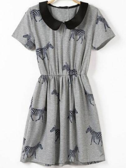 Grey Short Sleeve Zebra Print Pleated Dress