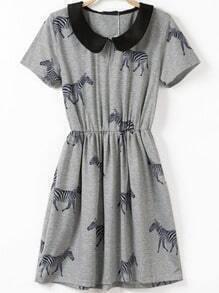 Grey Short Sleeve Zebra Print Pleated Dress