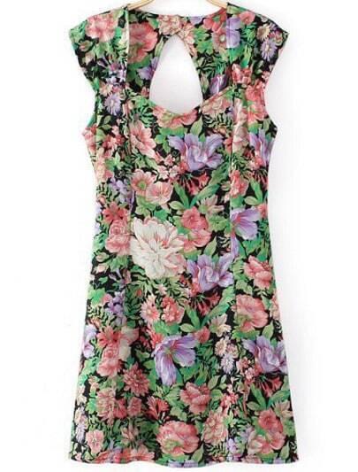 Black Cap Sleeve Floral Hollow Dress