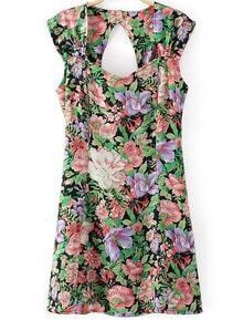 Black Cap Sleeve Floral Hollow Dress