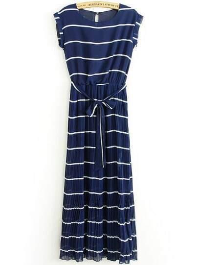 Blue Short Sleeve Striped Belt Chiffon Dress
