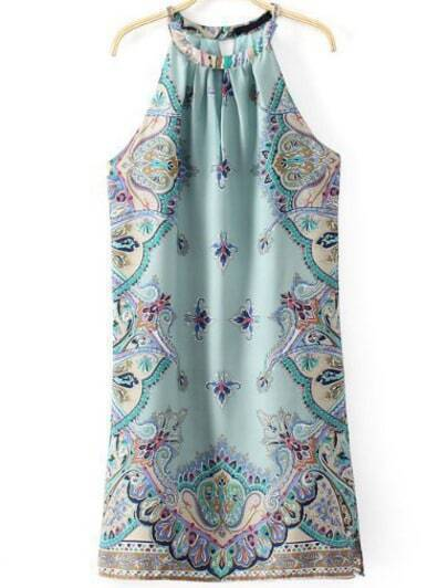 Blue Sleeveless Cashews Print Chiffon Dress