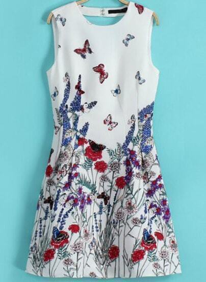 White Sleeveless Butterfly Print Chiffon Dress
