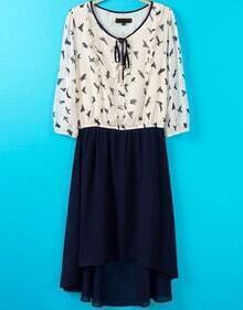 White Long Sleeve Birds Print High Low Dress