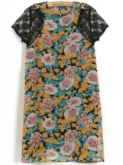 Yellow Contrast Lace Short Sleeve Floral Dress