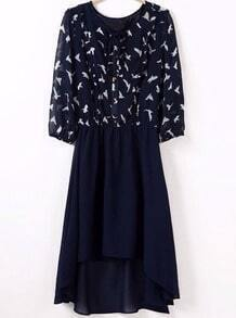 Navy Long Sleeve Birds Print High Low Dress