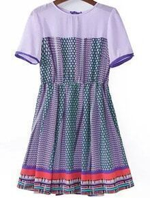 Purple Short Sleeve Vintage Floral Pleated Dress