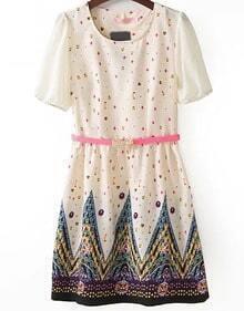 Beige Short Sleeve Gemstone Print Chiffon Dress