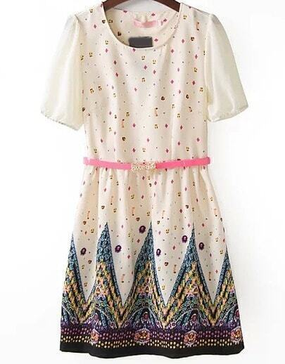 Beige Short Sleeve Gemstone Print Chiffon Dress