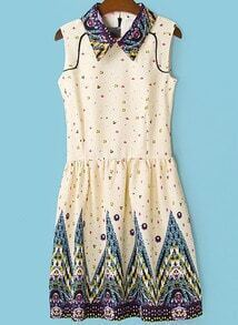 Beige Lapel Sleeveless Galaxy Print Dress