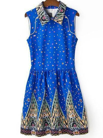 Blue Lapel Sleeveless Galaxy Print Dress