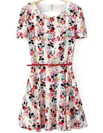 White Short Sleeve Floral Pleated Slim Dress