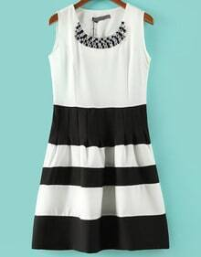 White Black Sleeveless Striped Rhinestone Dress