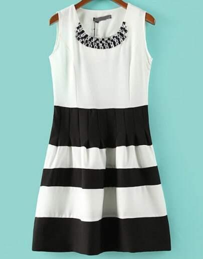White Black Sleeveless Striped Rhinestone Dress