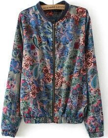 Blue Stand Collar Long Sleeve Zipper Floral Jacket