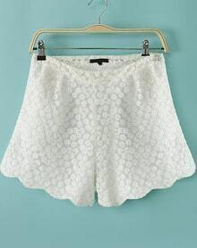 White Zigzag Embroidered Lace Shorts
