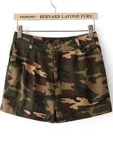 Green Camouflage Slim Straight Shorts