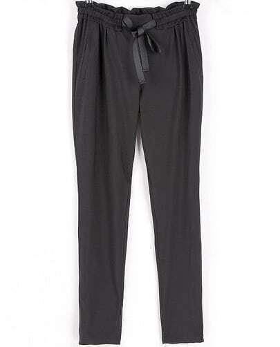 Black Drawstring Waist Loose Pant