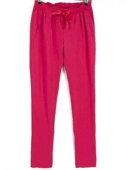 Red Drawstring Waist Loose Pant