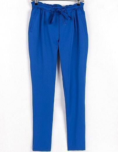 Blue Drawstring Waist Loose Pant