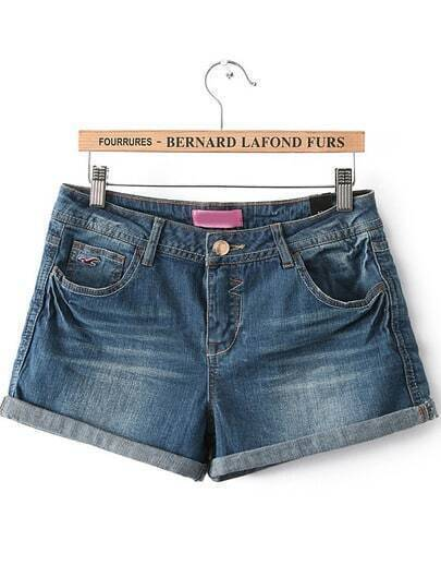 Blue Flange Bleached Denim Shorts