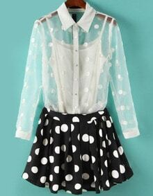 White Long Sleeve Sheer Two Pieces Top With Polka Dot Skirt