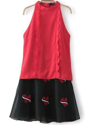 Red Sleeveless Ruffle Top With Heart Embroidered Skirt