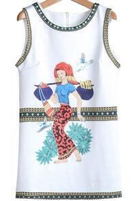 White Sleeveless Tribal Print Slim Dress