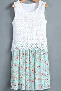 White Green Sleeveless Hollow Floral Pleated Dress