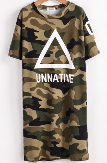 Army Green Short Sleeve Triangle Print Dress