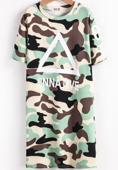 Light Green Short Sleeve Triangle Print Dress