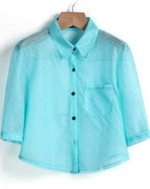Blue Lapel Half Sleeve Pocket Crop Blouse
