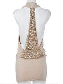 Apricot Sleeveless Sequined Backless Bodycon Dress