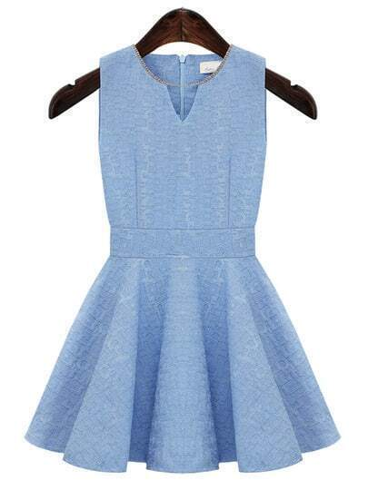 Blue V Neck Lace Embroidery Pleated Dress