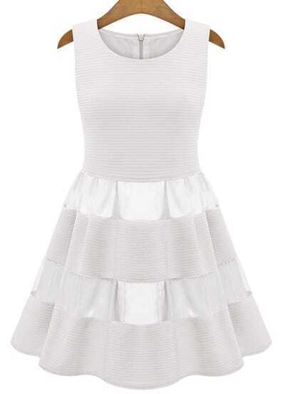Ivory Sleeveless Contrast Mesh Yoke Ruffle Dress
