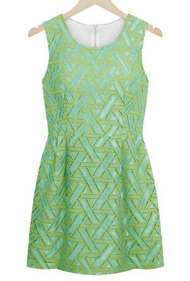 Green Sleeveless Lace Embroidery Dress