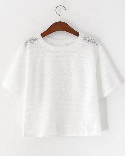White Short Sleeve Crochet Lace Hollow Blouse