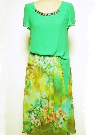 Green Floral Print Belt High-low Dress
