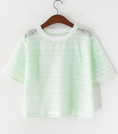 Green Short Sleeve Crochet Lace Hollow Blouse