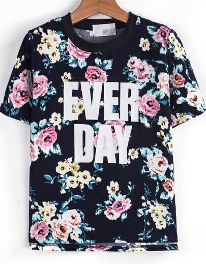 Blue Short Sleeve Floral EVER DAY Print T-Shirt