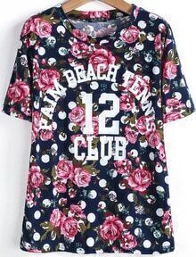 Navy Short Sleeve Floral Letters 12 Print T-Shirt