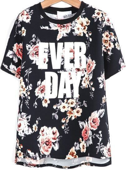 Black Short Sleeve Floral EVER DAY Print T-Shirt